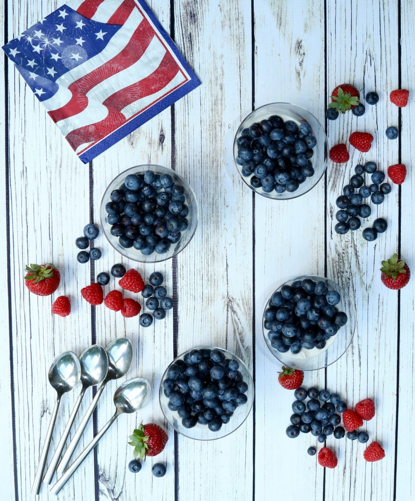 Healthy 4th of July Berry Chia Seed and Coconut Cream Parfait