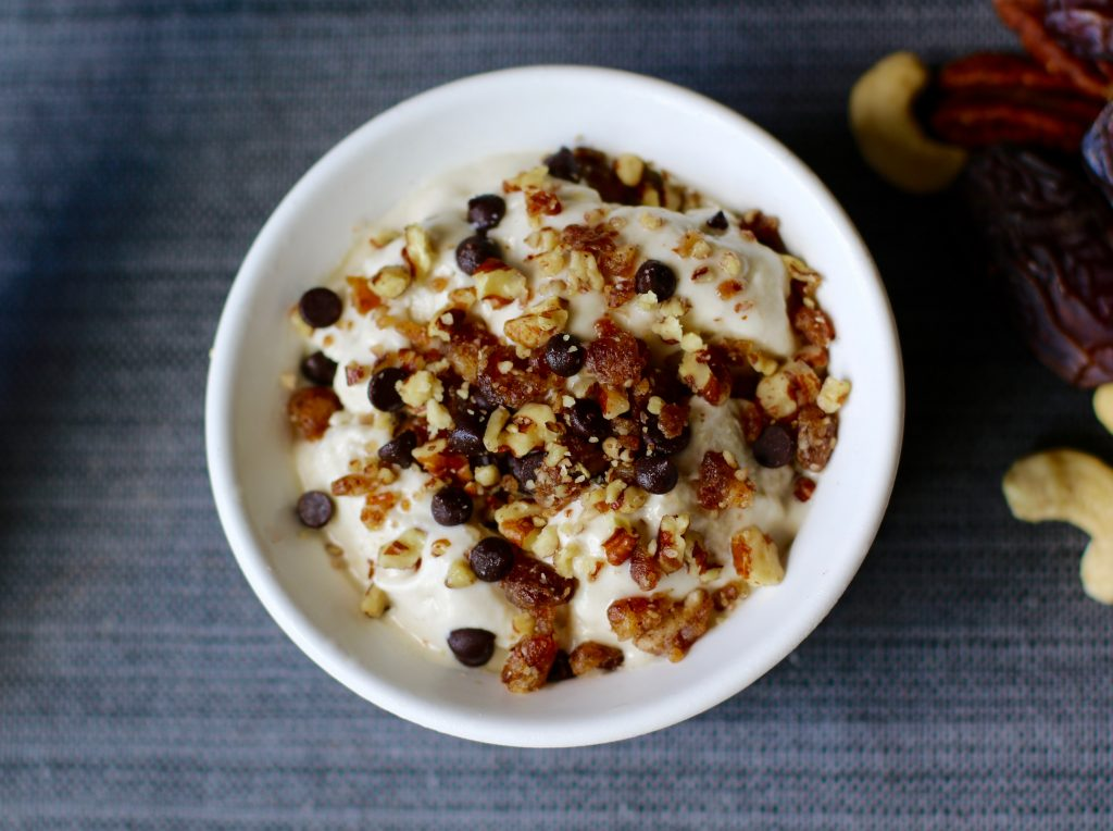 No Churn Creamy Cashew Ice Cream Topped with Chocolate Chips, Dates, & Pecans {Vegan, Gluten-Free} Here Comes the Bride… - runcooklaugh.com.jpg