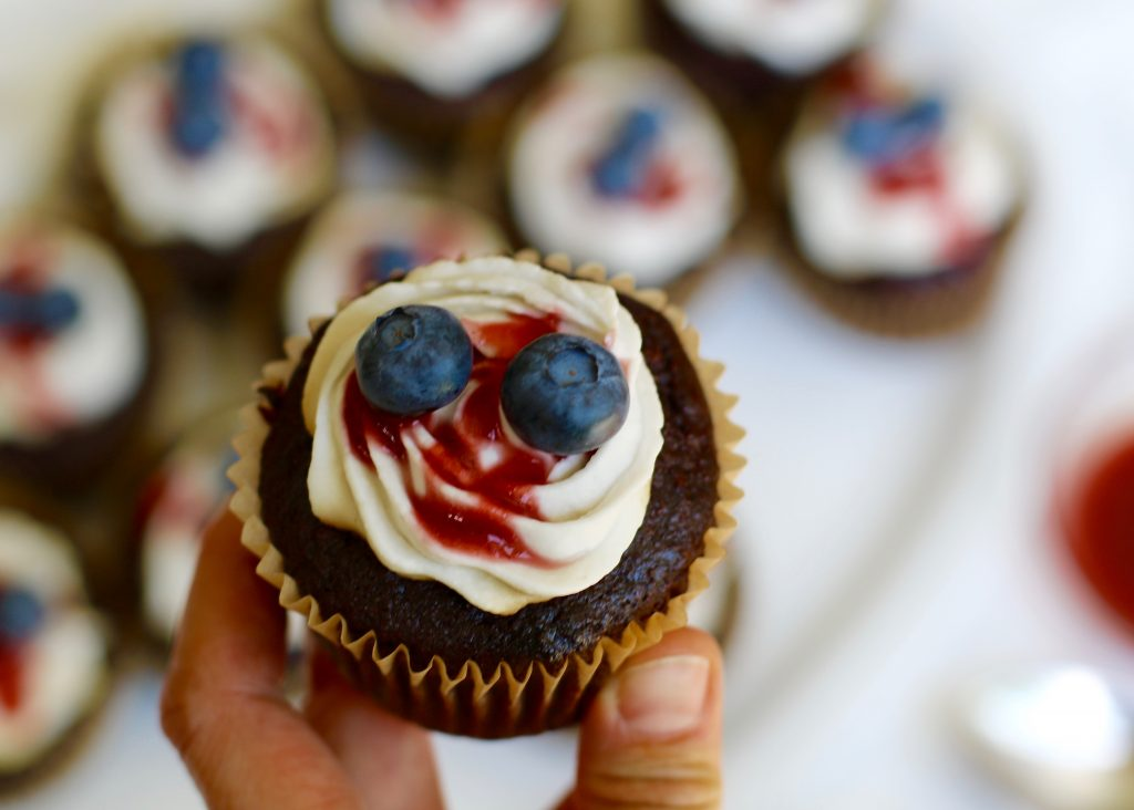 Patriotic Chocolate Cupcakes with Coconut Cream Frosting - The Stone Roses Concert - runcooklaugh.com