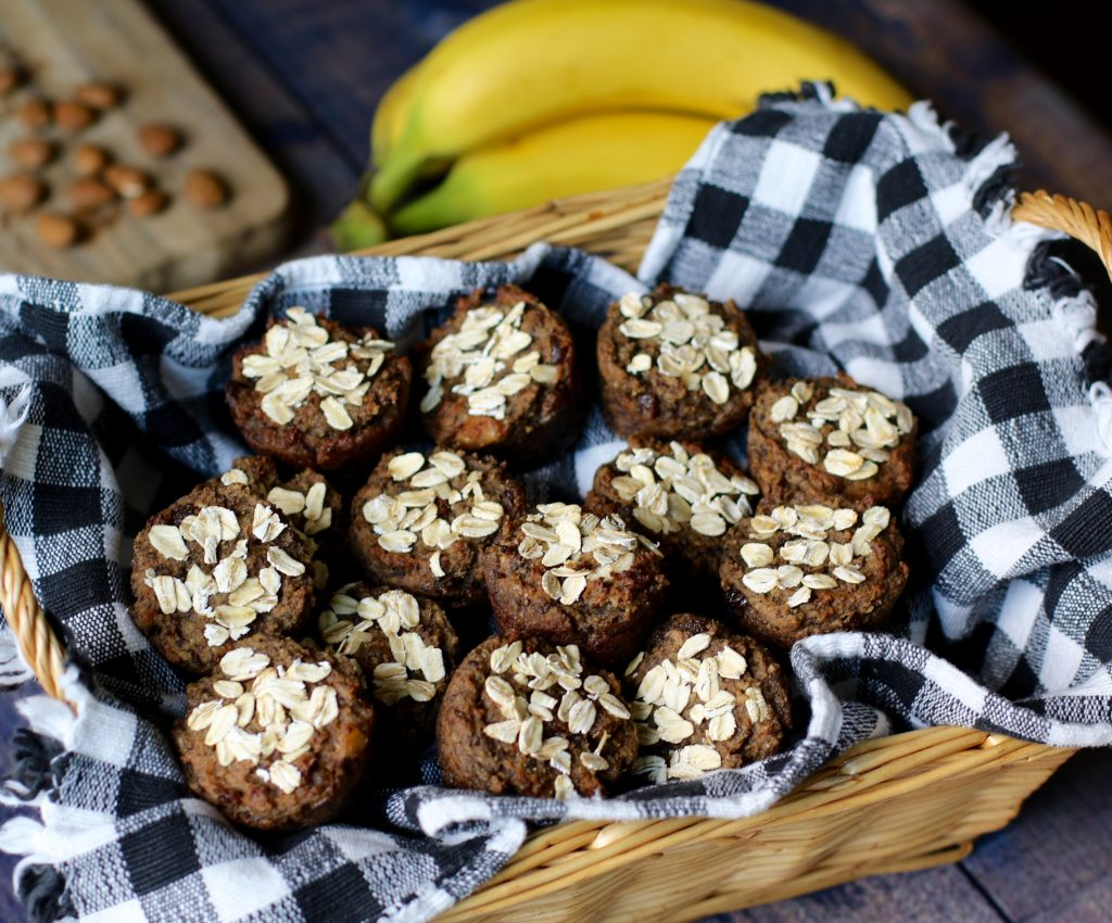 Breakfast Banana Mini Muffins made with Almond Pulp - runcooklaugh.com