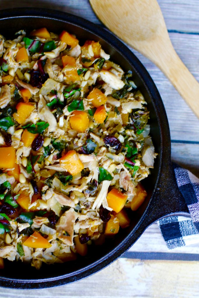 Butternut Squash Sage with Shredded Chicken and Cranberries - runcooklaugh.com