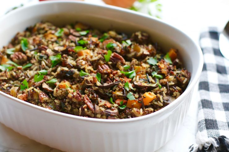 rice and squash wild rice quinoa mushroom stuffing with butternut squash