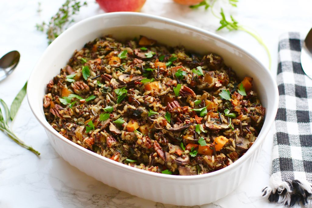 Wild Rice & Quinoa Mushroom Stuffing with Butternut Squash & Apples - runcooklaugh.com