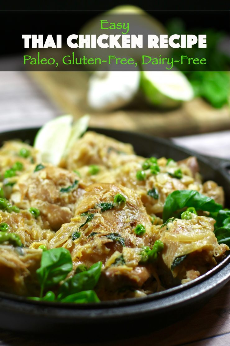 A simple a Thai chicken recipe paleo, gluten free, dairy free with basil.